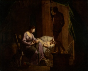 Joseph_Wright_of_Derby._Penelope_Unravelling_Her_Web_by_Lamp_Light._exhibited_1785
