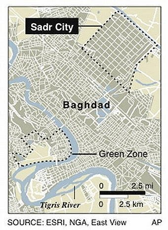 Sadr City and Green Zone Map