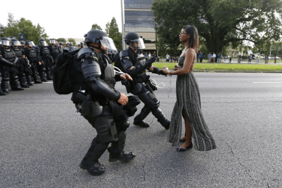 Ieshia-Evans-being-detained-by-law-enforcement-officers