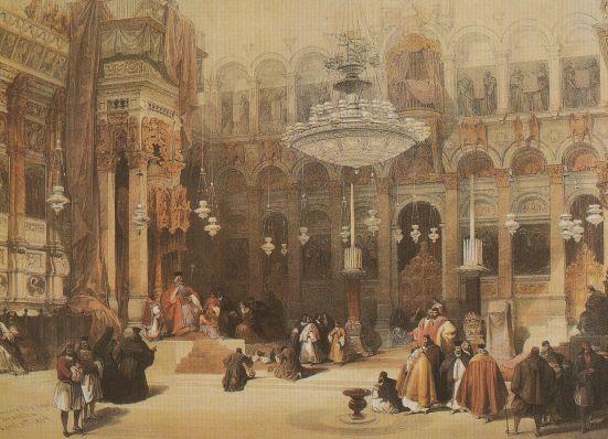 david-roberts-church-of-the-holy-sepulchre-jerusalem-victorian-painting-postcard-98720-p
